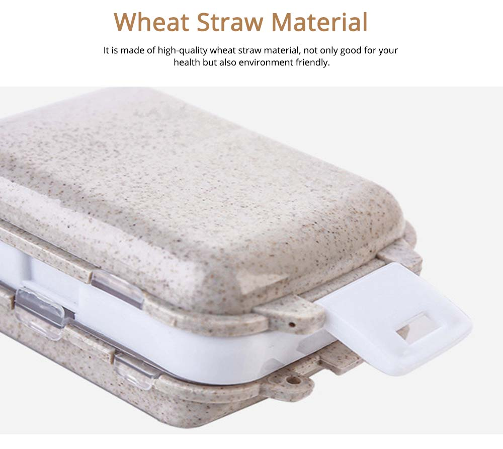 Wheat Straw Medicine Box for Travel or Outside, Environment Friendly 8 Grills Weekly Drug Box 5
