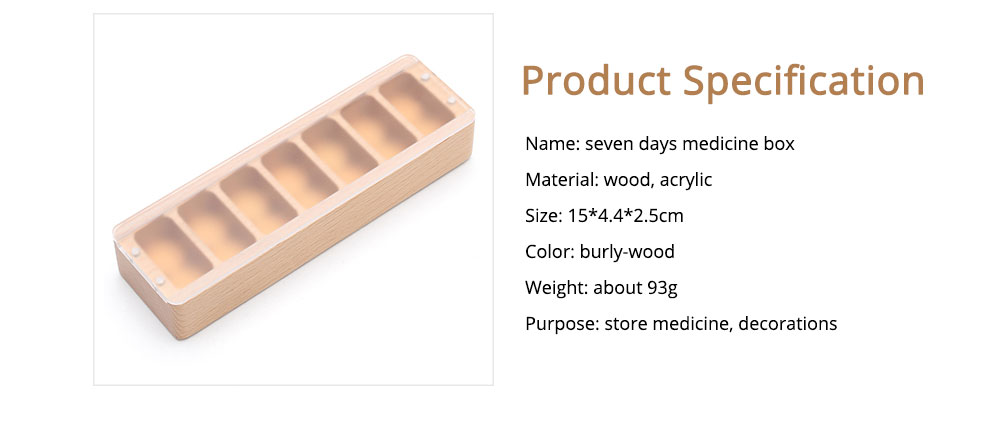 Natural Wood Material Pill Case with 7 Compartments, Weekly Container for Medicine Decorations Small Case 6