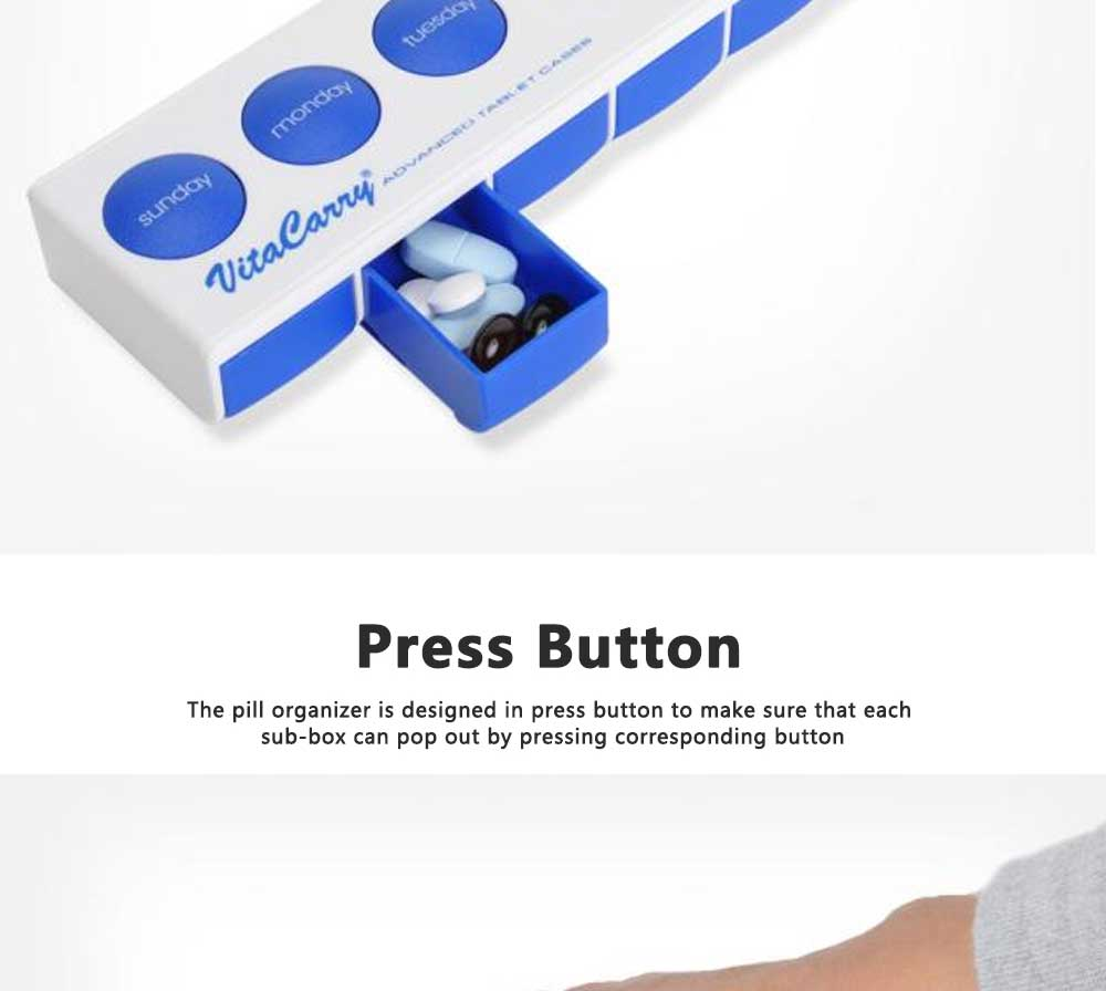 Portable Weekly Pill Box Dispenser with Press Button, Safe Lock 7 Day Medicine Organizer Container for Travelling 5