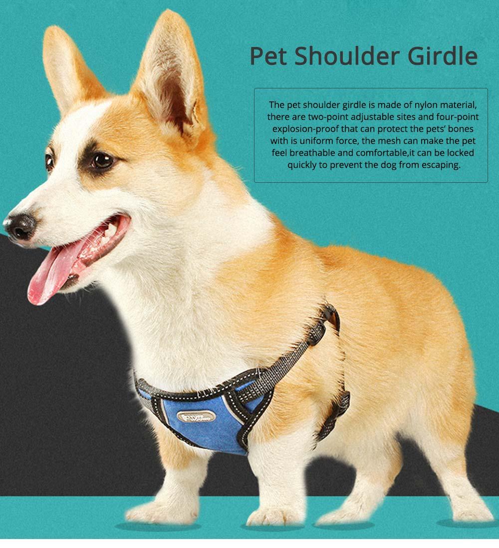 Pet Pectoral Girdle Zinc Nylon Material Straps for Dog Pet Four-point Explosion-proof Shoulder Girdle 0