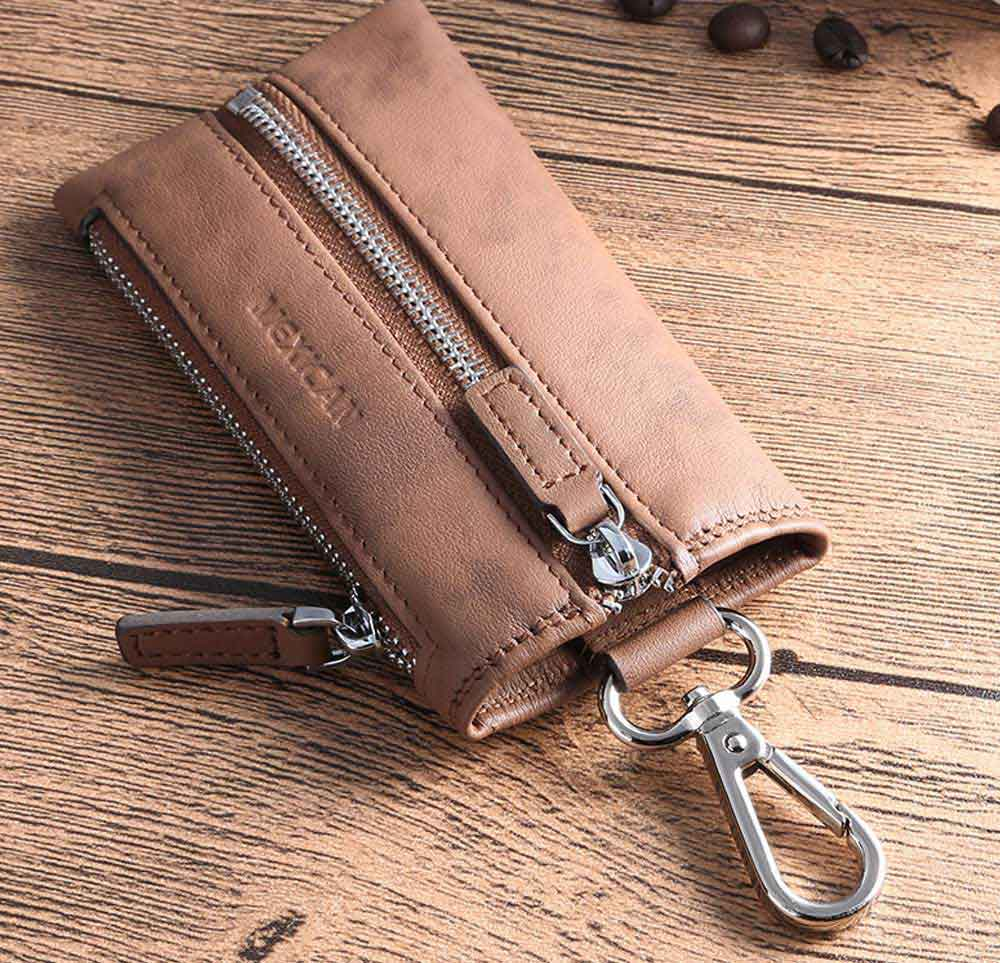 Leather Key Case for Men, Waist Hanged Zipper Key Case for Women, Multipurpose Key Case Wallet Mini Coin Purse 2