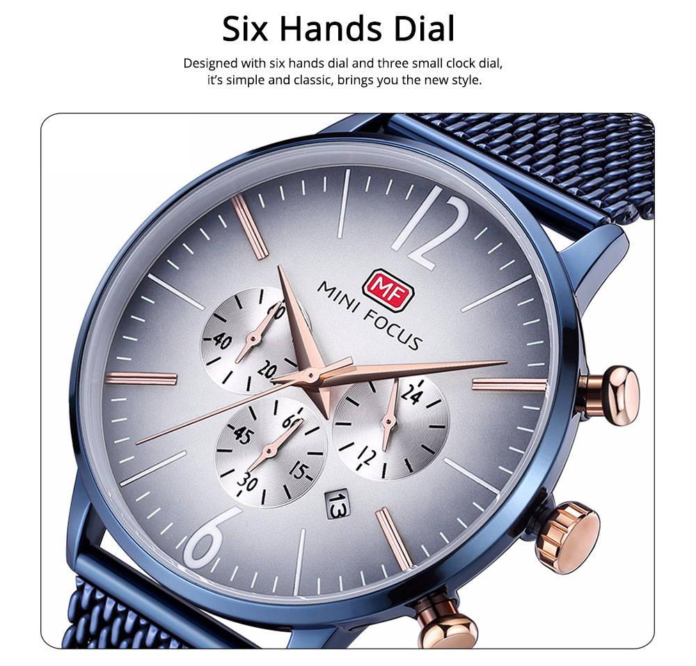 Wear-proof Stylish Watch, Skin-friendly Steel Strap Watch for Men, Water-proof Quartz Movement Round Alloy Dial Watch 3