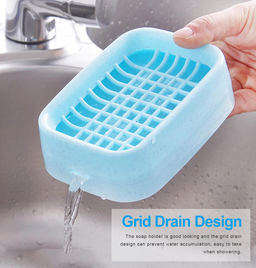 Environmental PP Soap Holder with Grid Drain Container for Bathroom, Kitchen, Multifunctional Soap Dispenser 2