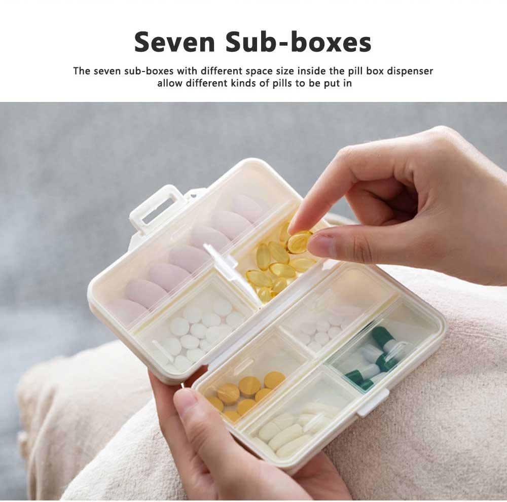 Seven-day Pill Box Dispenser Portable Pill Organizer for Travelling, Mini Medicine Organizer Container with 7 Sub-boxes 2
