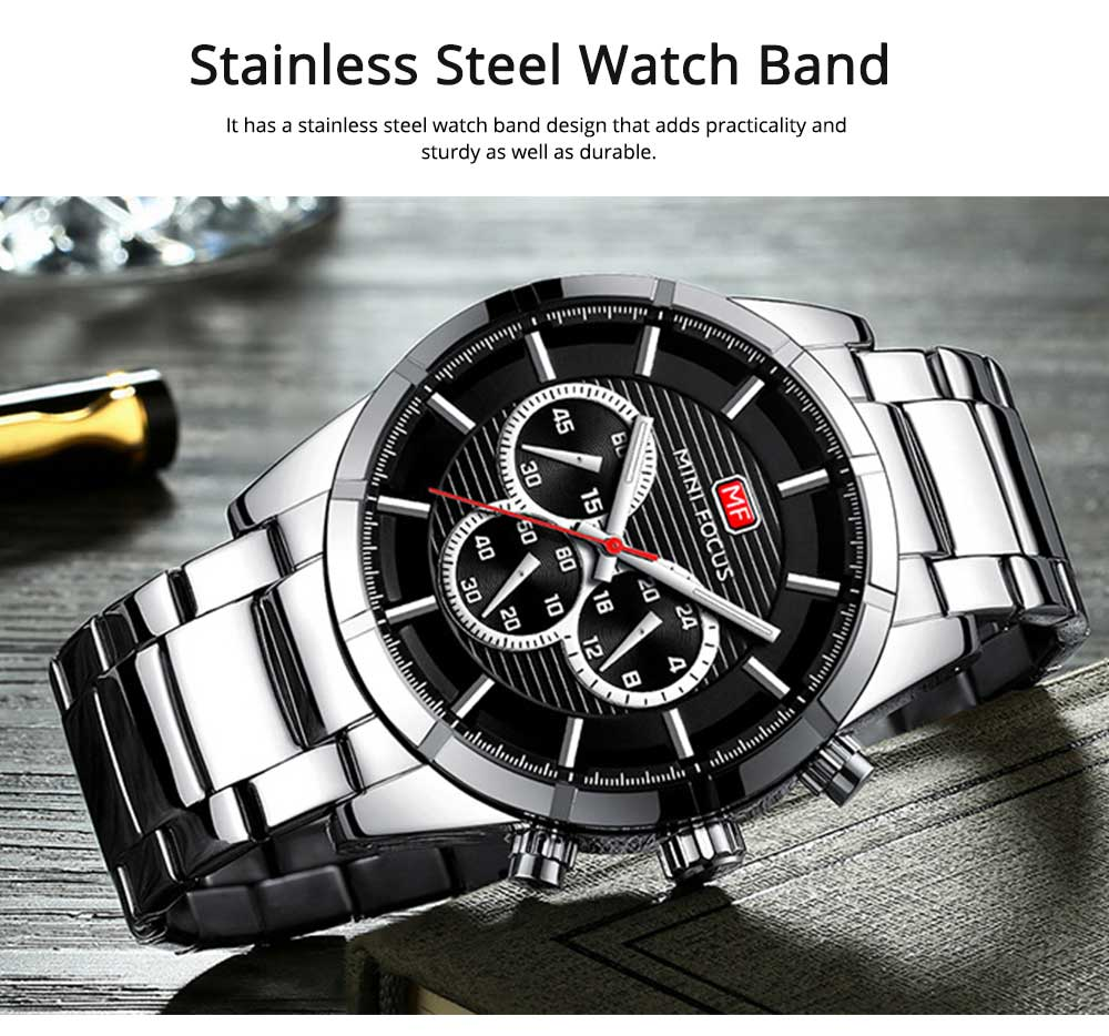 Luminous Waterproof Watch for Party Daily Life, Alloy Watchcase and Stainless Steel Watch Band Men's Wrist Watch 2