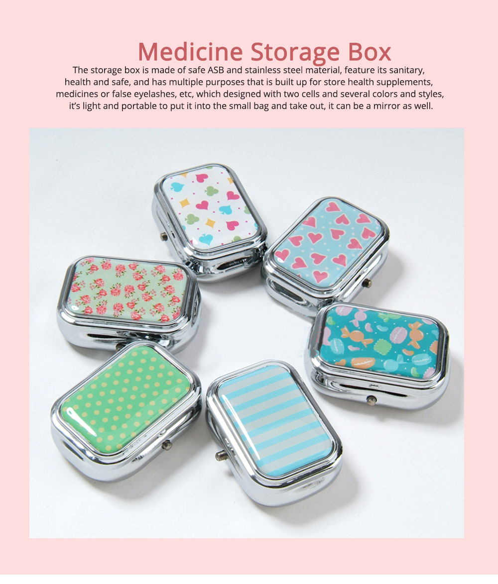 ASB Stainless Steel Pill Box with Two Cells Mirror Small Container for Medicine False Eyelashes Dispenser Portable Case 0