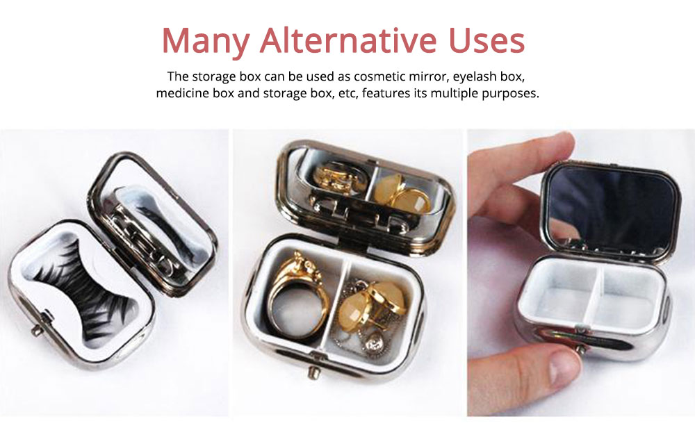 ASB Stainless Steel Pill Box with Two Cells Mirror Small Container for Medicine False Eyelashes Dispenser Portable Case 3