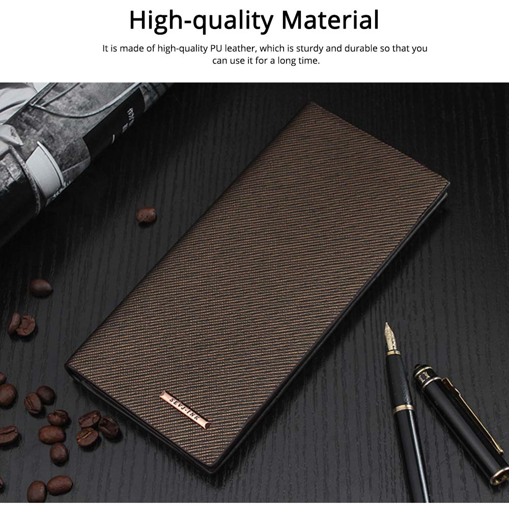 Long and Slim Men's Wallet with Study and Durable PU Leather Material, Hardware Fashion Brand Logo Business Wallet 5