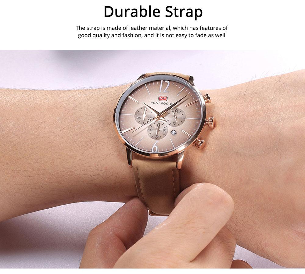 Fashionable Leather Strap Watch for Men Water-proof Round Dial Watch Minimalist Quartz Wrist Watch 5