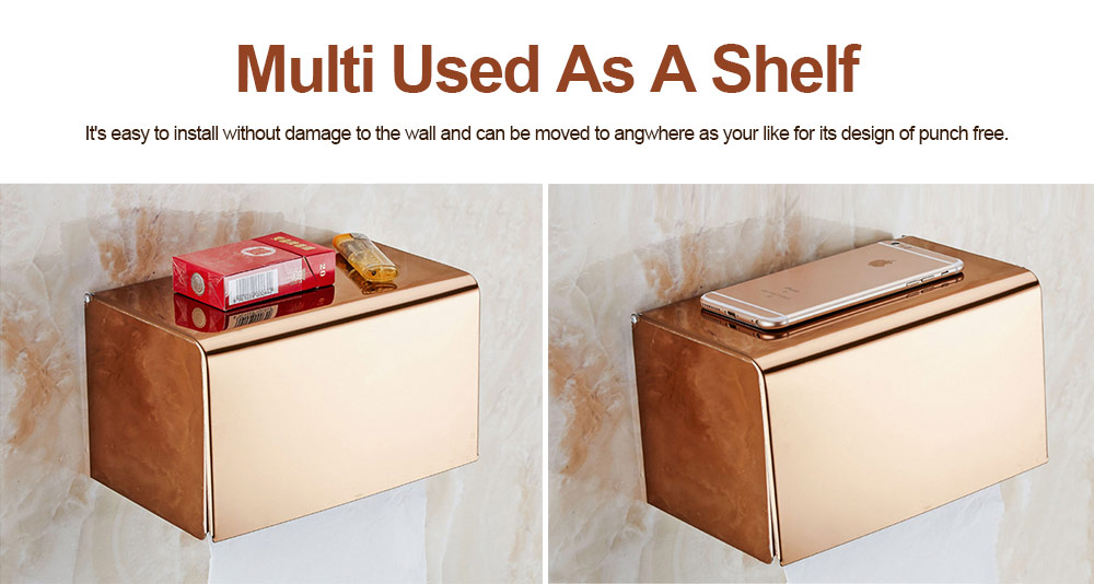 Punch free Stainless Steel Toilet Paper Holder, Wall Mounted Nail Free Waterproof Paper Storage Box for Bathroom 4