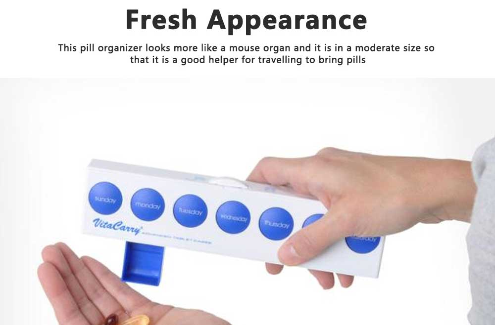 Portable Weekly Pill Box Dispenser with Press Button, Safe Lock 7 Day Medicine Organizer Container for Travelling 7