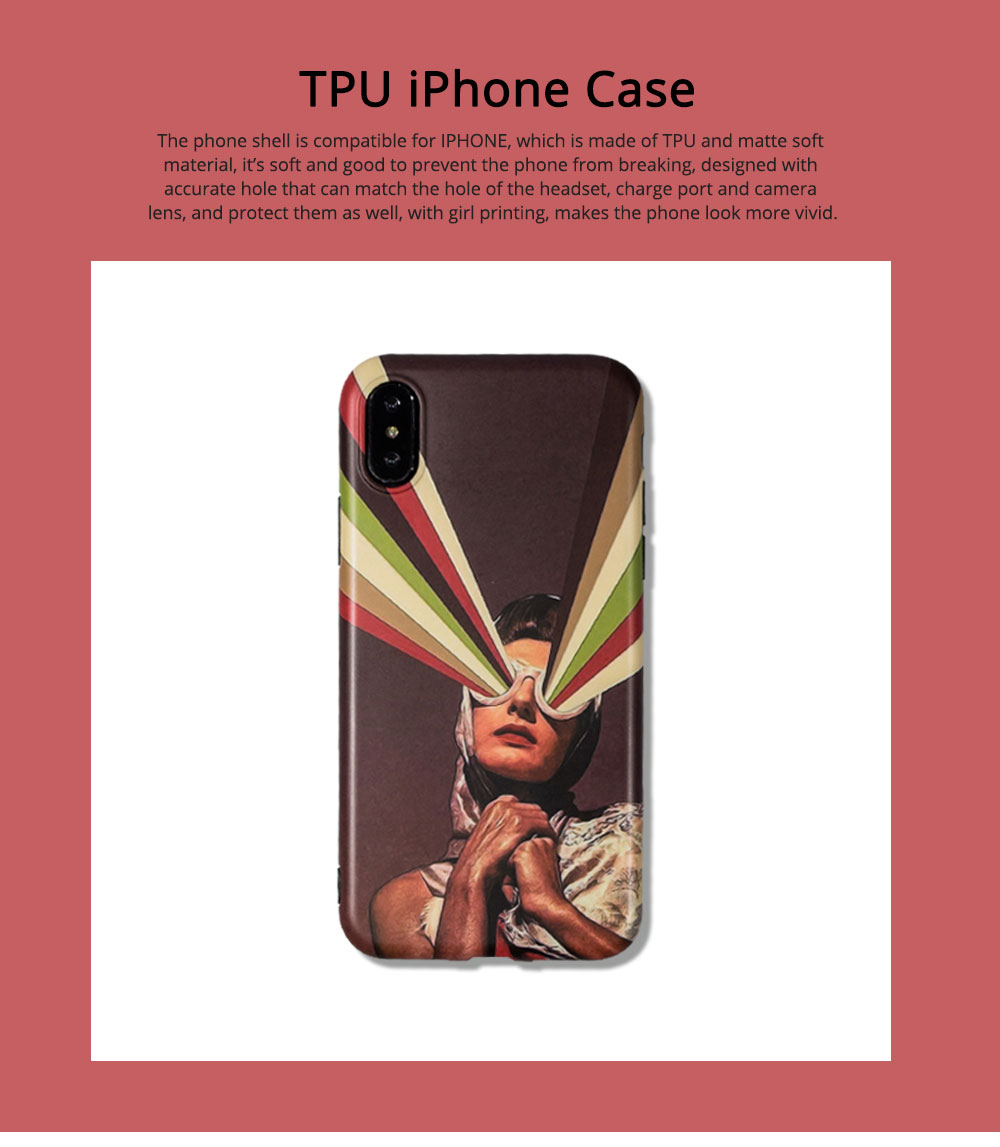 Soft TPU Matte Phone Case Full Enclosed Compatible for iPhone 6 6s 7 8 XS Max XR 7P 8P with Girl Rainbow Print iPhone Shell 0