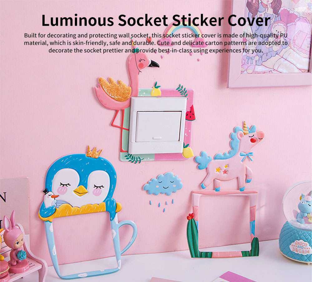 Creative Cute Cartoon Luminous Wall Socket Sticker Cover, Skin-friendly PU Nightlight Switch Power Decoration Ornament 0