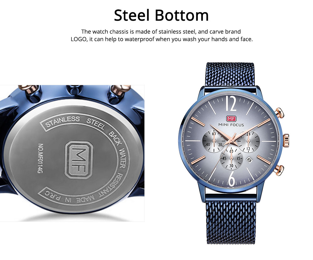 Wear-proof Stylish Watch, Skin-friendly Steel Strap Watch for Men, Water-proof Quartz Movement Round Alloy Dial Watch 2