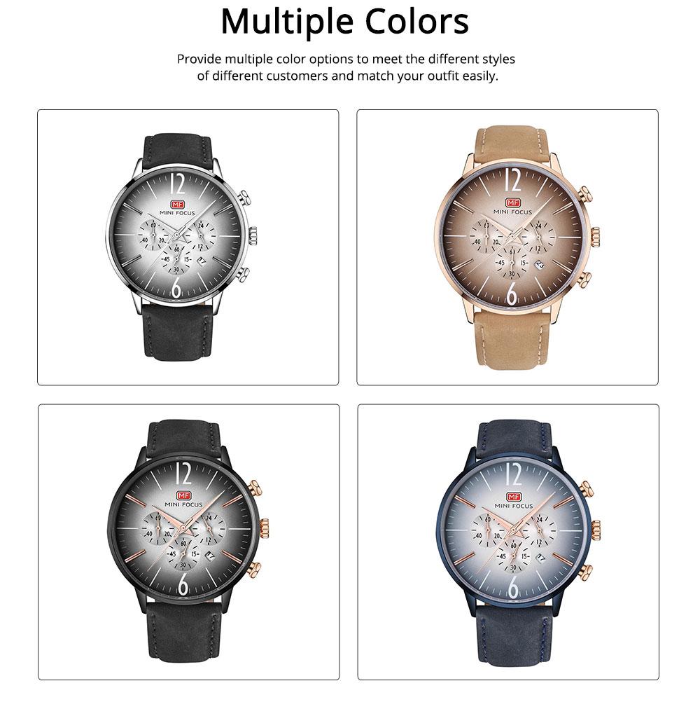 Fashionable Leather Strap Watch for Men Water-proof Round Dial Watch Minimalist Quartz Wrist Watch 1
