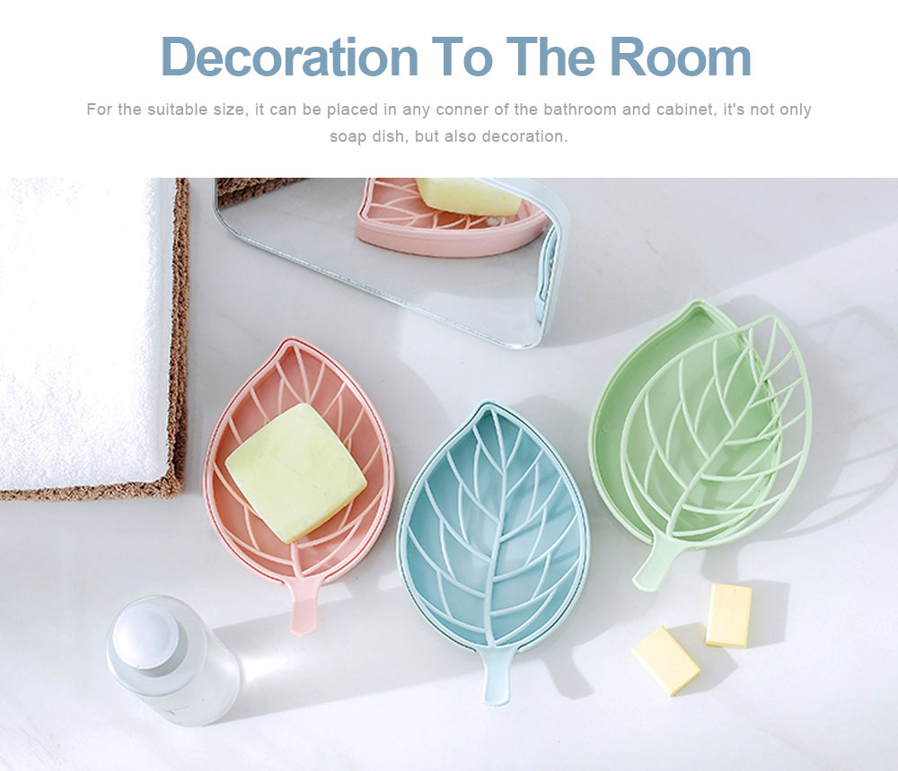 Plastic Soap Box Leaf Shape Shower Soap Holder with Drain Container, Home Bathroom Kitchen Essential Plastic Soap Container 4