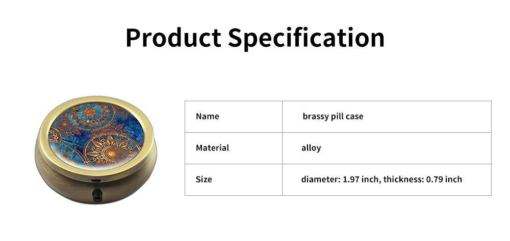 Creative Fancy Mini Portable Brassiness Alloy Pill Case, Elegant  Decorative Earrings Jewelry Storage Box with 3 Compartments 6