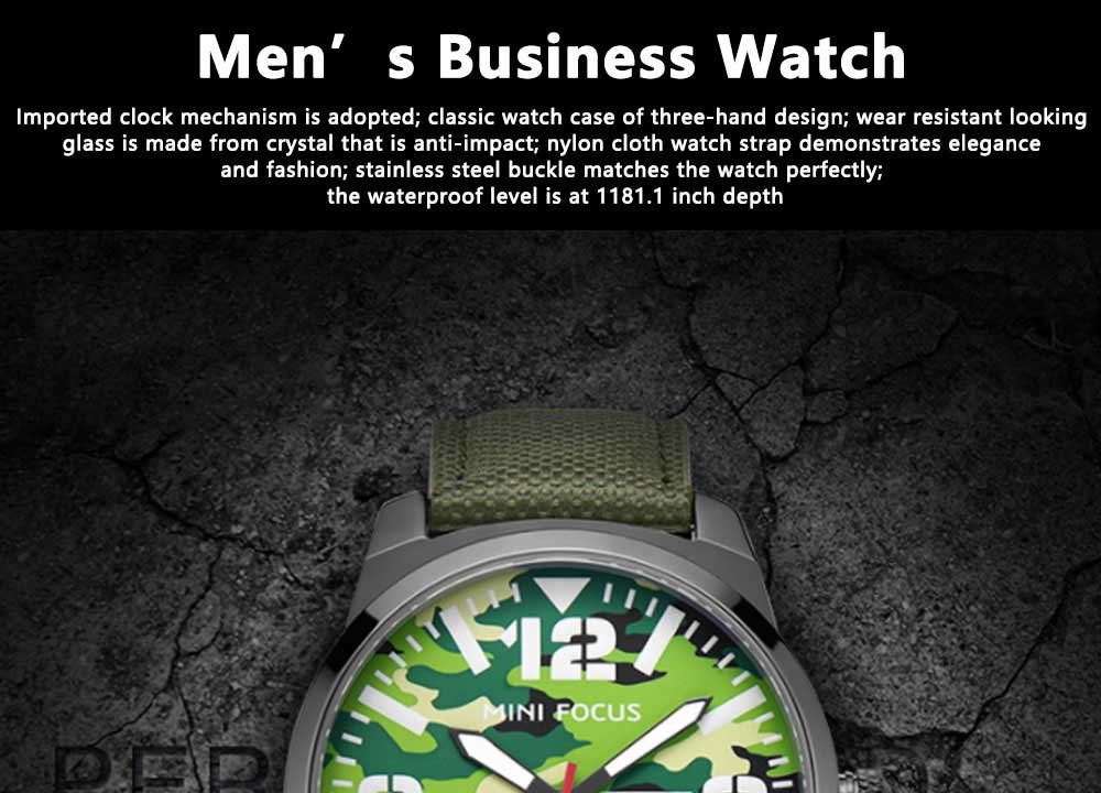 MINI FOCUS Business Watch for Men Luminous Watches with Japanese Movement Mechanism 0