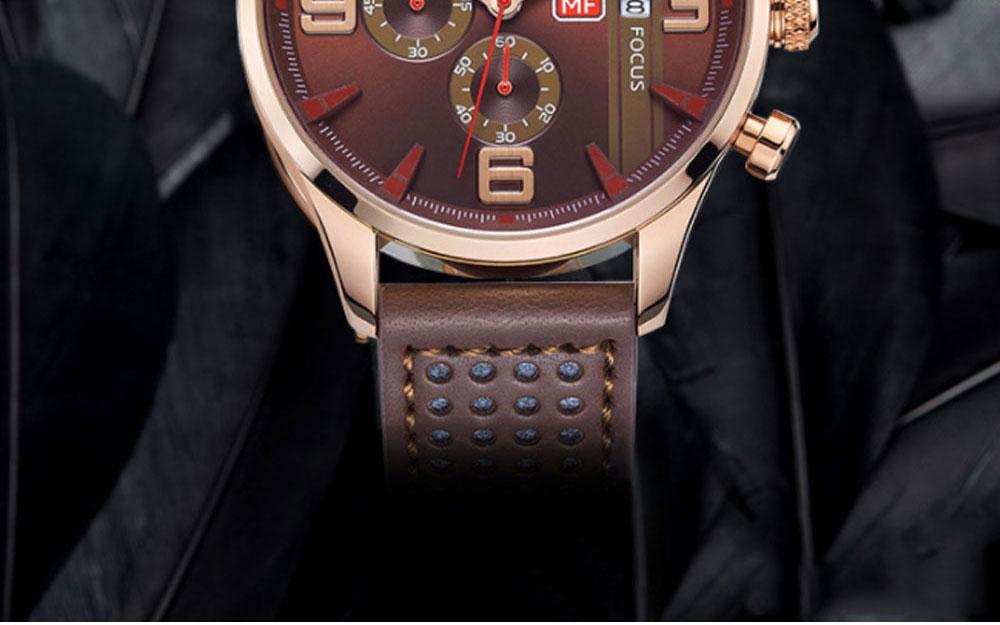 Mini Focus Men's Business Watch, MINI FOCUS Stylish Luminous Watches Leather Bracelet 1