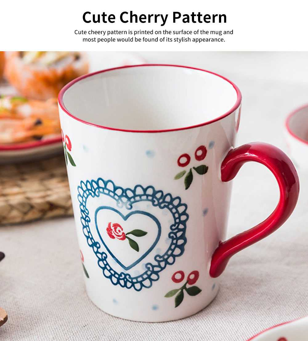 Cute Delicate Elegant Ceramics Mug with Cherry Pattern, Large Capacity Underglaze Household Water Cup 5