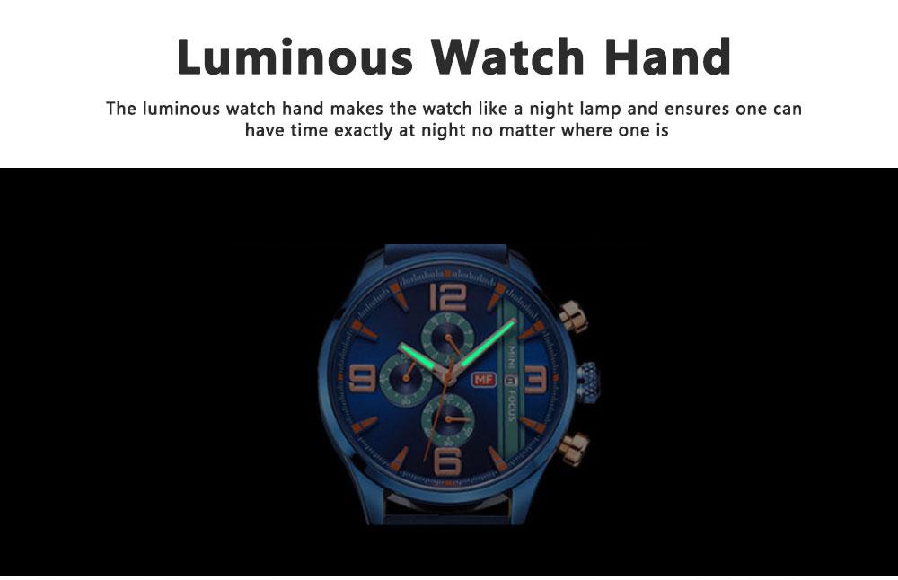 Mini Focus Men's Business Watch, MINI FOCUS Stylish Luminous Watches Leather Bracelet 6