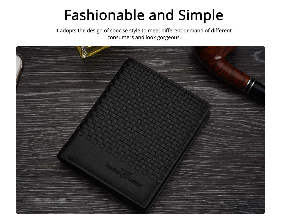 Concise Style Wallet for Business Travelling with PU Leather Material, Unique Decorative Pattern Men's Wallet 1
