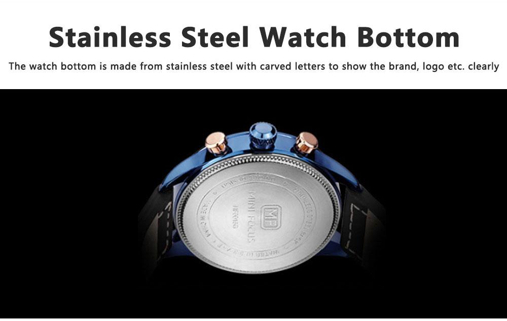Mini Focus Men's Business Watch, MINI FOCUS Stylish Luminous Watches Leather Bracelet 5