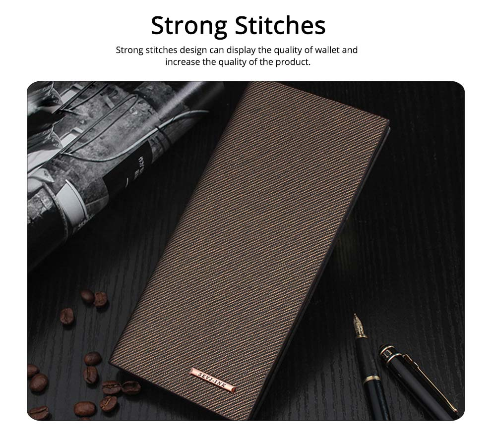 Long and Slim Men's Wallet with Study and Durable PU Leather Material, Hardware Fashion Brand Logo Business Wallet 3