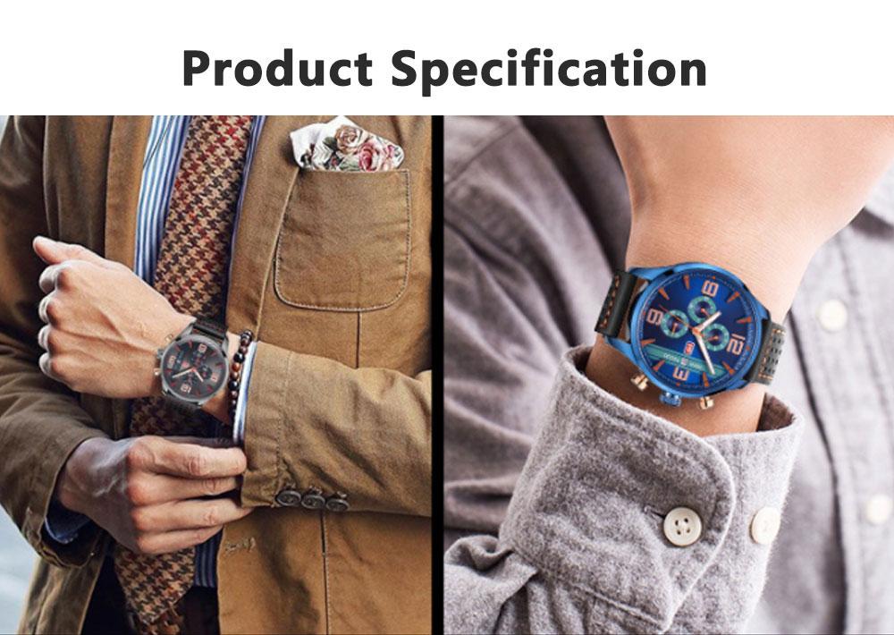 Mini Focus Men's Business Watch, MINI FOCUS Stylish Luminous Watches Leather Bracelet 8