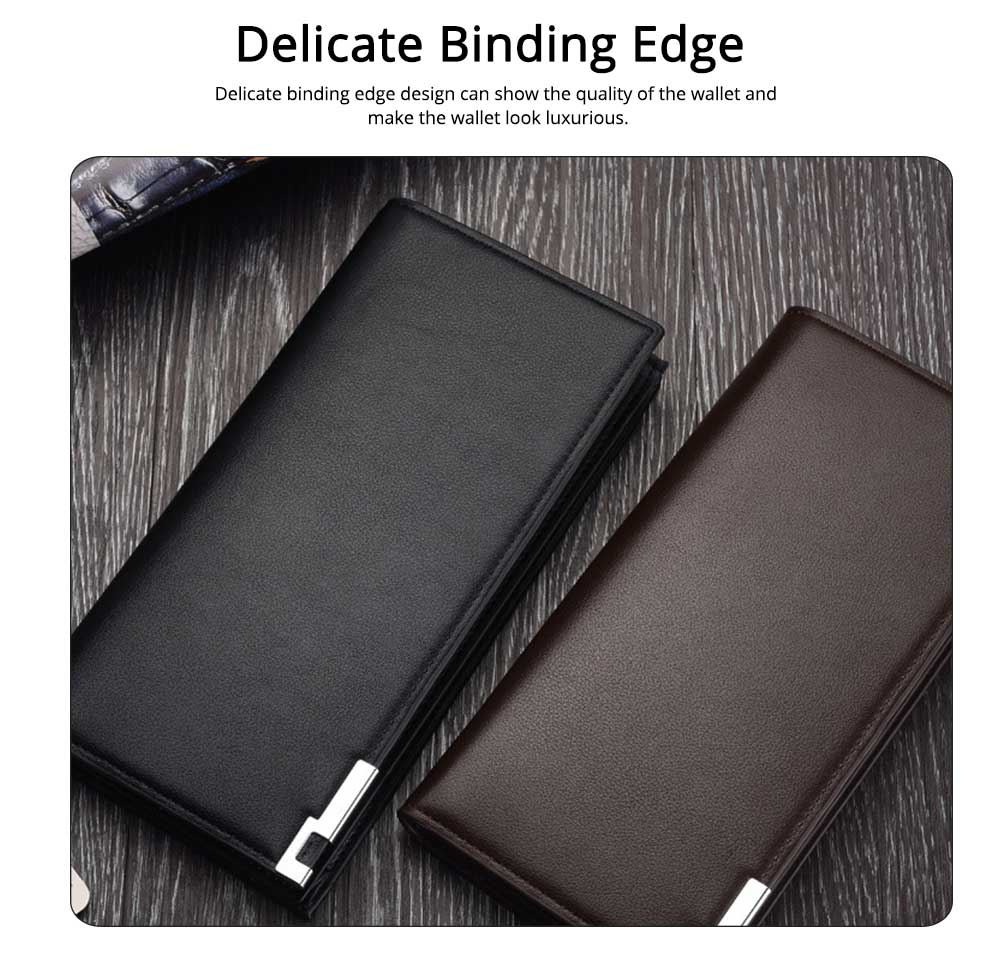 Delicate Package Edge Business Wallet, Men's Long Wallet with PU Leather Polyester Fabric 3