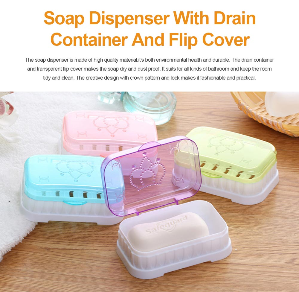 Soap Dispenser with Drain Container And Transparent Flip Cover for Bathroom 0