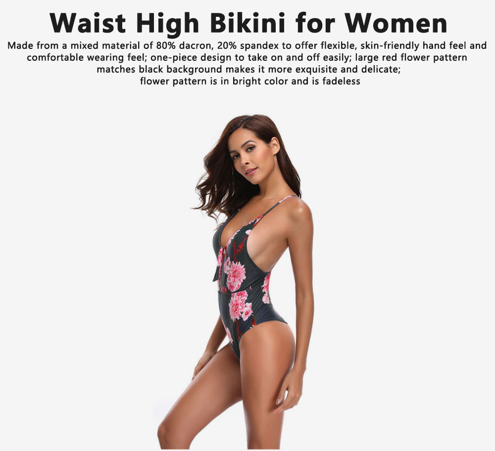 Retro Style Swimsuit Bikini for Women in 2019 Waist High One-piece Sexy Swimsuit for Ladies 0