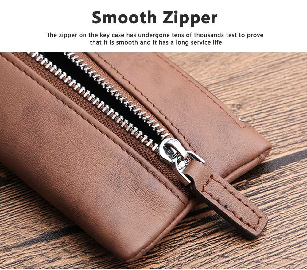 Leather Key Case for Men, Waist Hanged Zipper Key Case for Women, Multipurpose Key Case Wallet Mini Coin Purse 7