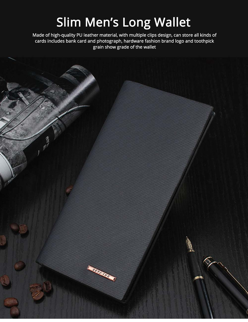 Long and Slim Men's Wallet with Study and Durable PU Leather Material, Hardware Fashion Brand Logo Business Wallet 0