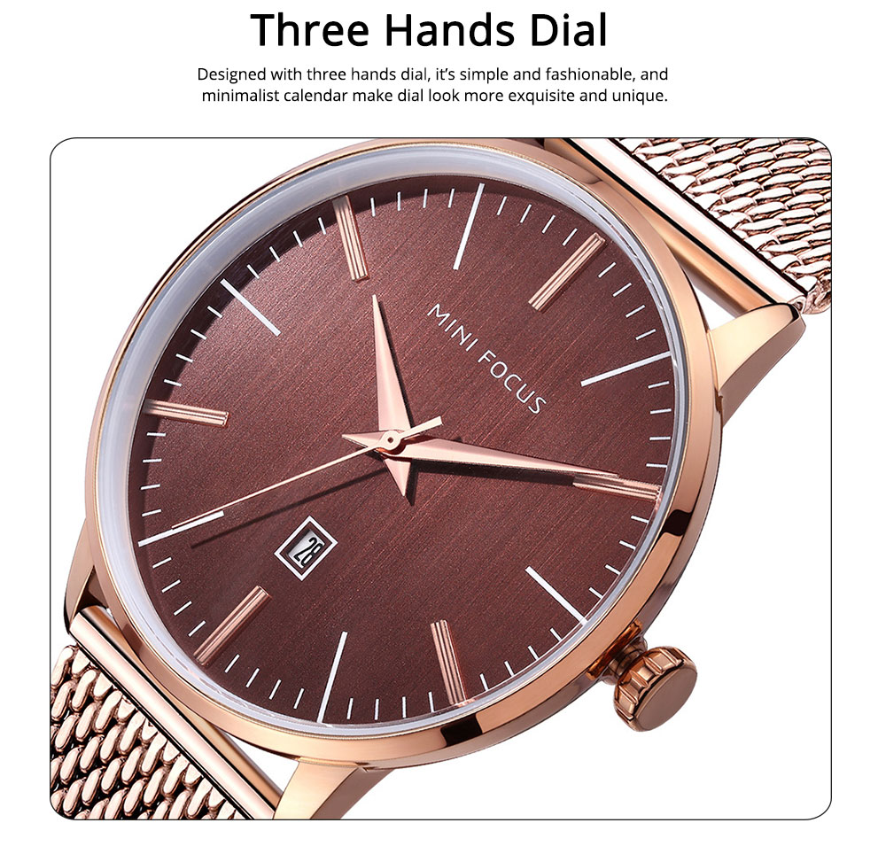Steel Strap Quartz Watch for Men, Water-proof Round Alloy Dial Watch Wear-proof Classic Watch 3