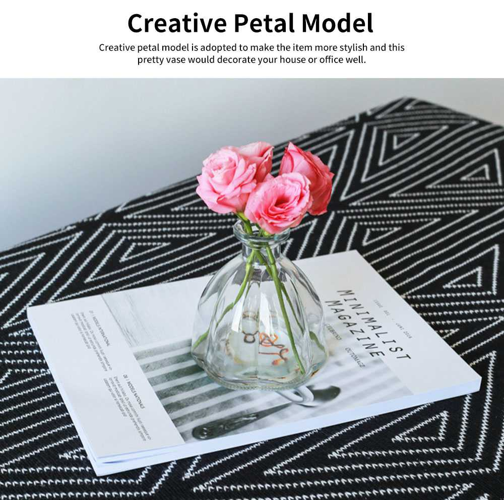 Transparent Colored Glass Petal Model Small Caliber Glass Vase, Stylish Office Household Bedroom Table Decoration Ornament Glass Bottle 4