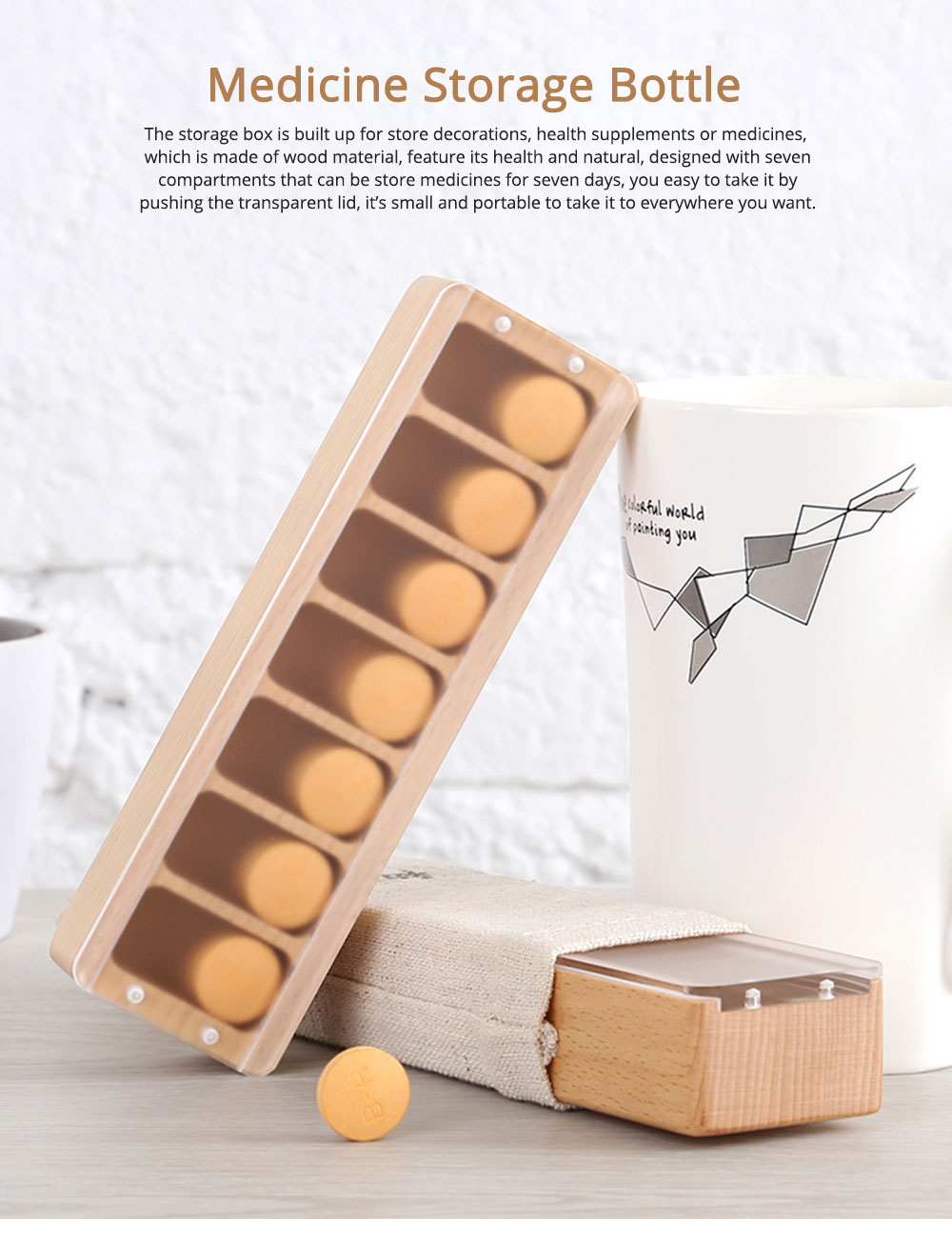 Natural Wood Material Pill Case with 7 Compartments, Weekly Container for Medicine Decorations Small Case 0