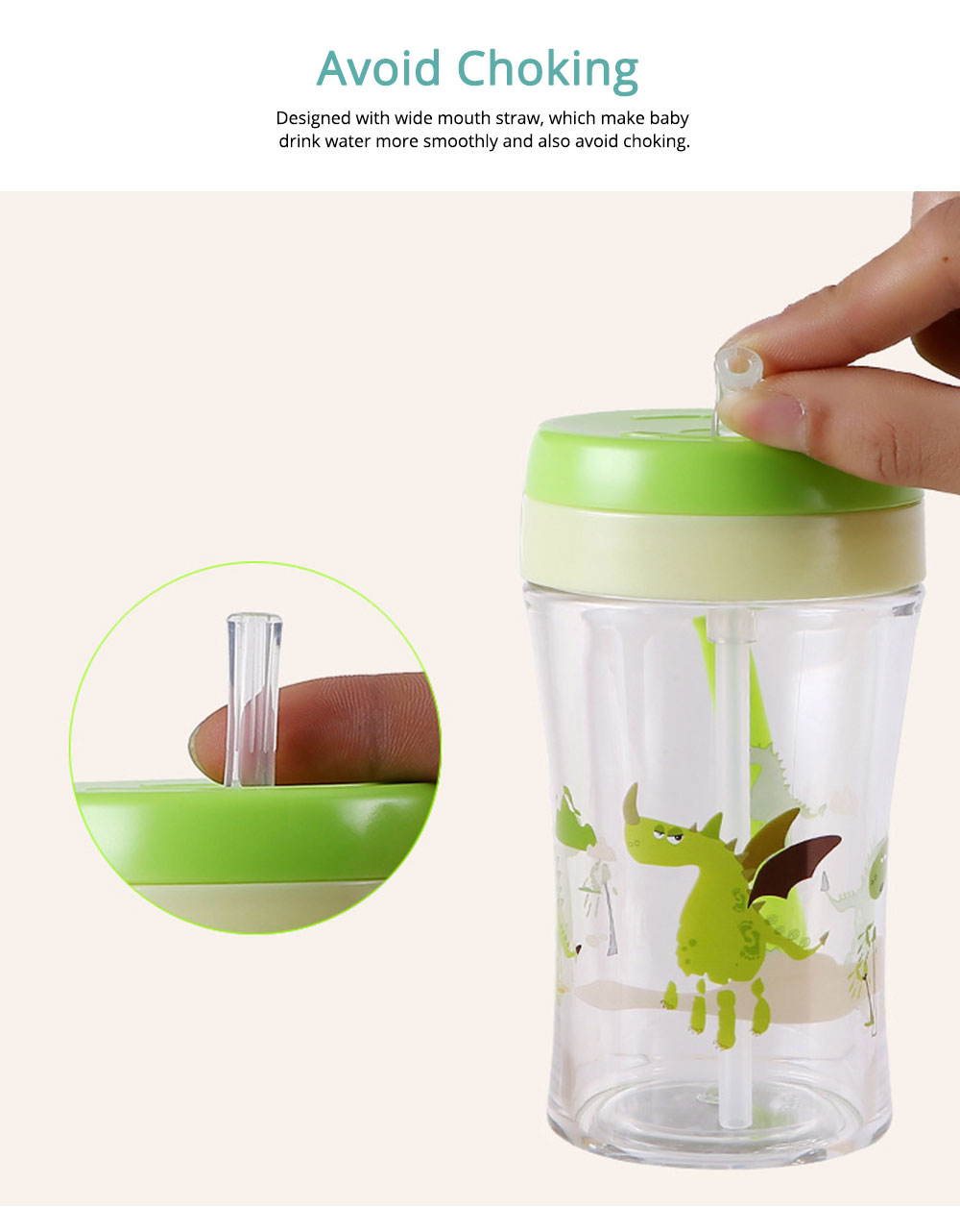 Safe Material Bottle with Straw Leak-proof Glass Choke-resistance for Baby Learning Drink Cup 4