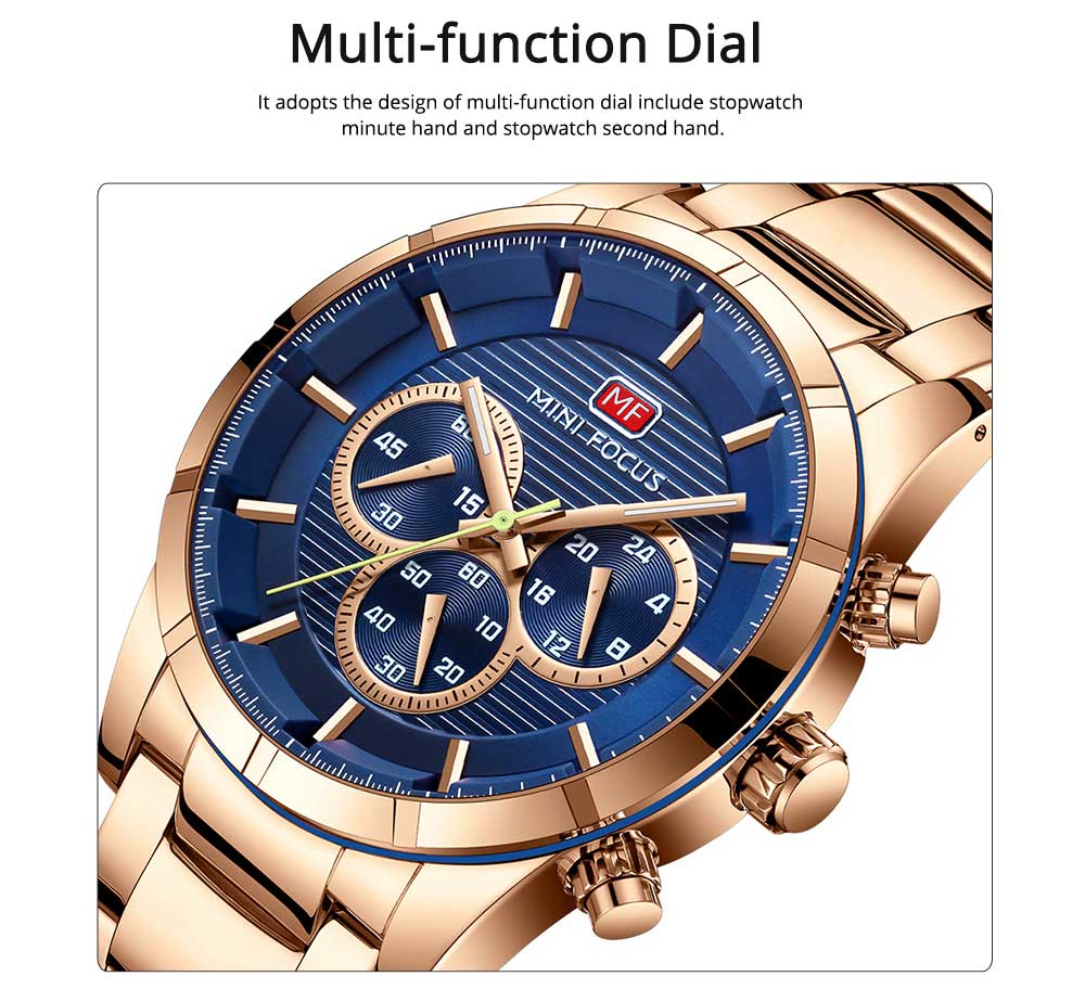 Luminous Waterproof Watch for Party Daily Life, Alloy Watchcase and Stainless Steel Watch Band Men's Wrist Watch 1