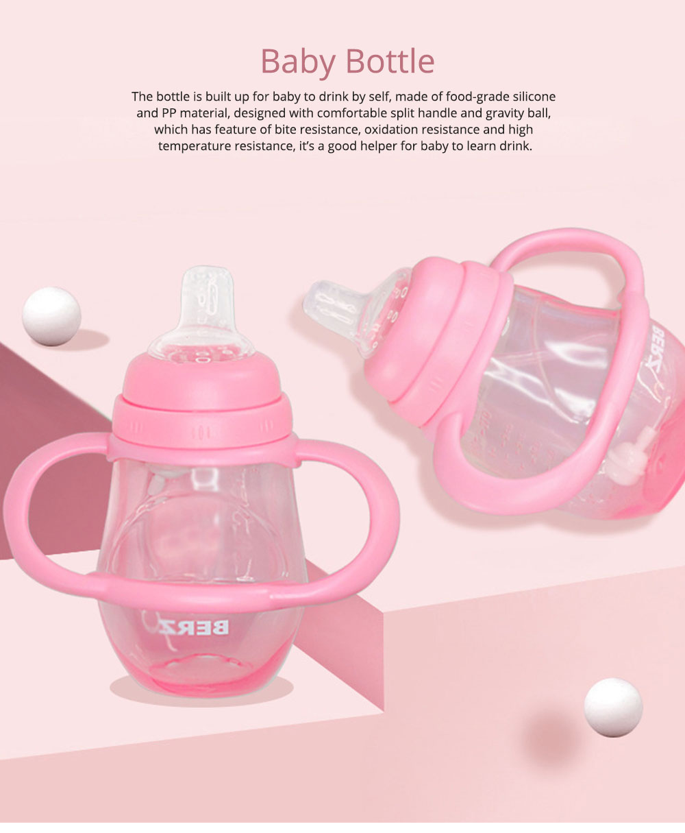 Silicone PP Material Bottle with Handle, Drop-proof Glass Bite-resistance Nipple for 6-18 Month Baby Cup 0