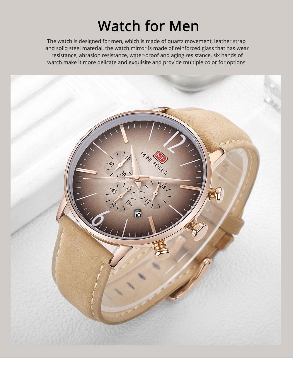 Fashionable Leather Strap Watch for Men Water-proof Round Dial Watch Minimalist Quartz Wrist Watch 0