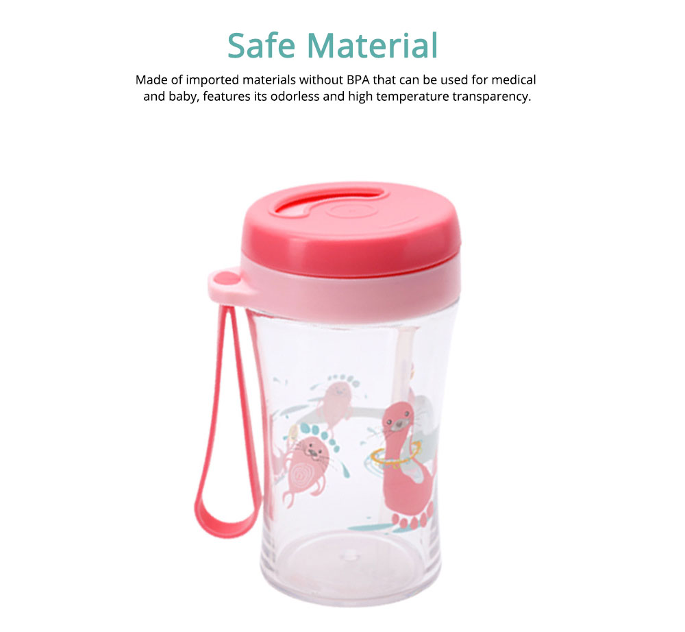 Safe Material Bottle with Straw Leak-proof Glass Choke-resistance for Baby Learning Drink Cup 3