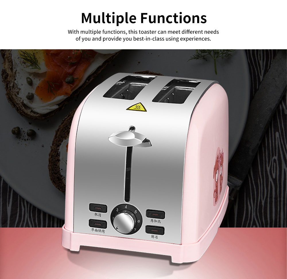 Cute Pink 2 Slice Stainless Steel Toaster, Multiple Functions Automatic Adjustable Browning Control Breakfast Bread Heater 5
