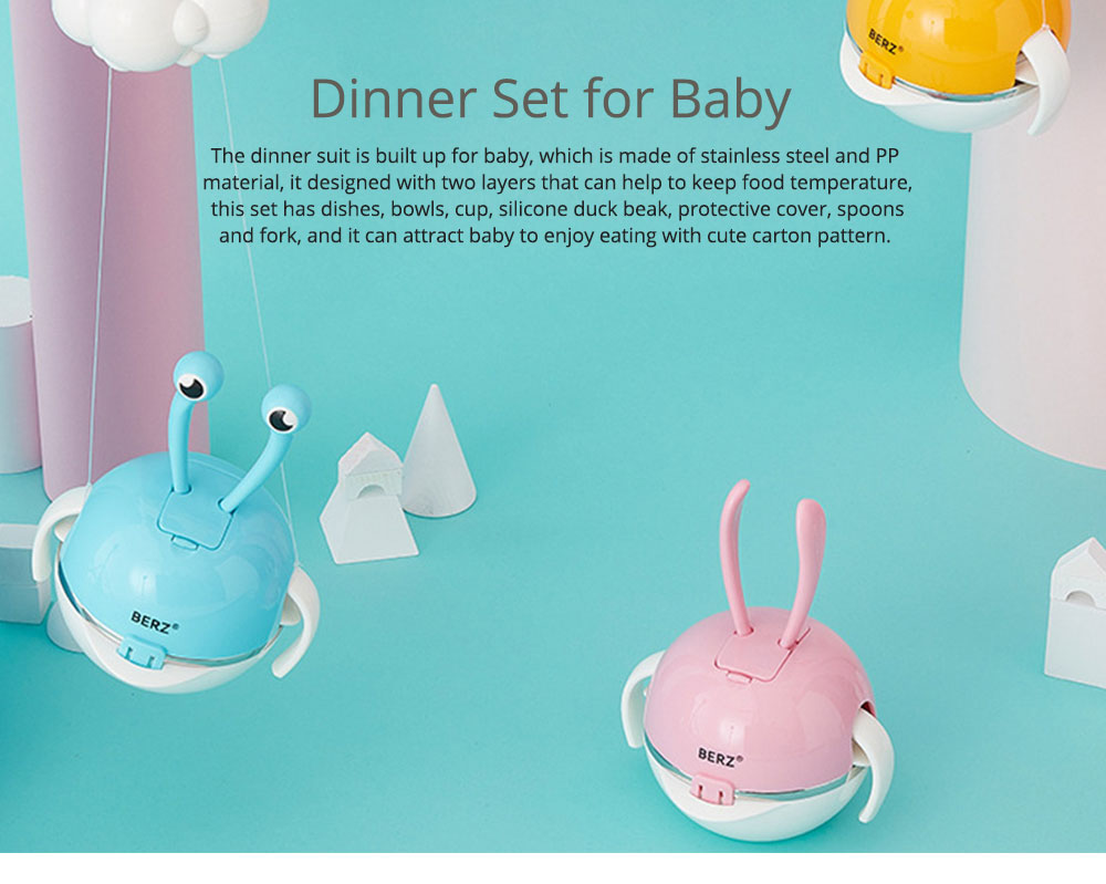 Stainless Steel PP Bowl Suit for Baby, Cute Carton Shape Double-layer Drop-resistance Baby Tableware Set 0