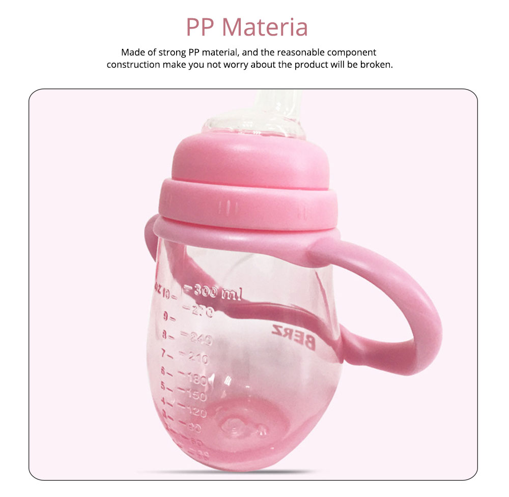 Silicone PP Material Bottle with Handle, Drop-proof Glass Bite-resistance Nipple for 6-18 Month Baby Cup 10