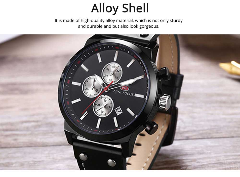 Men's Leather Strap Business Watch with Durable Solid Movement Luxury Wrist Watch 5