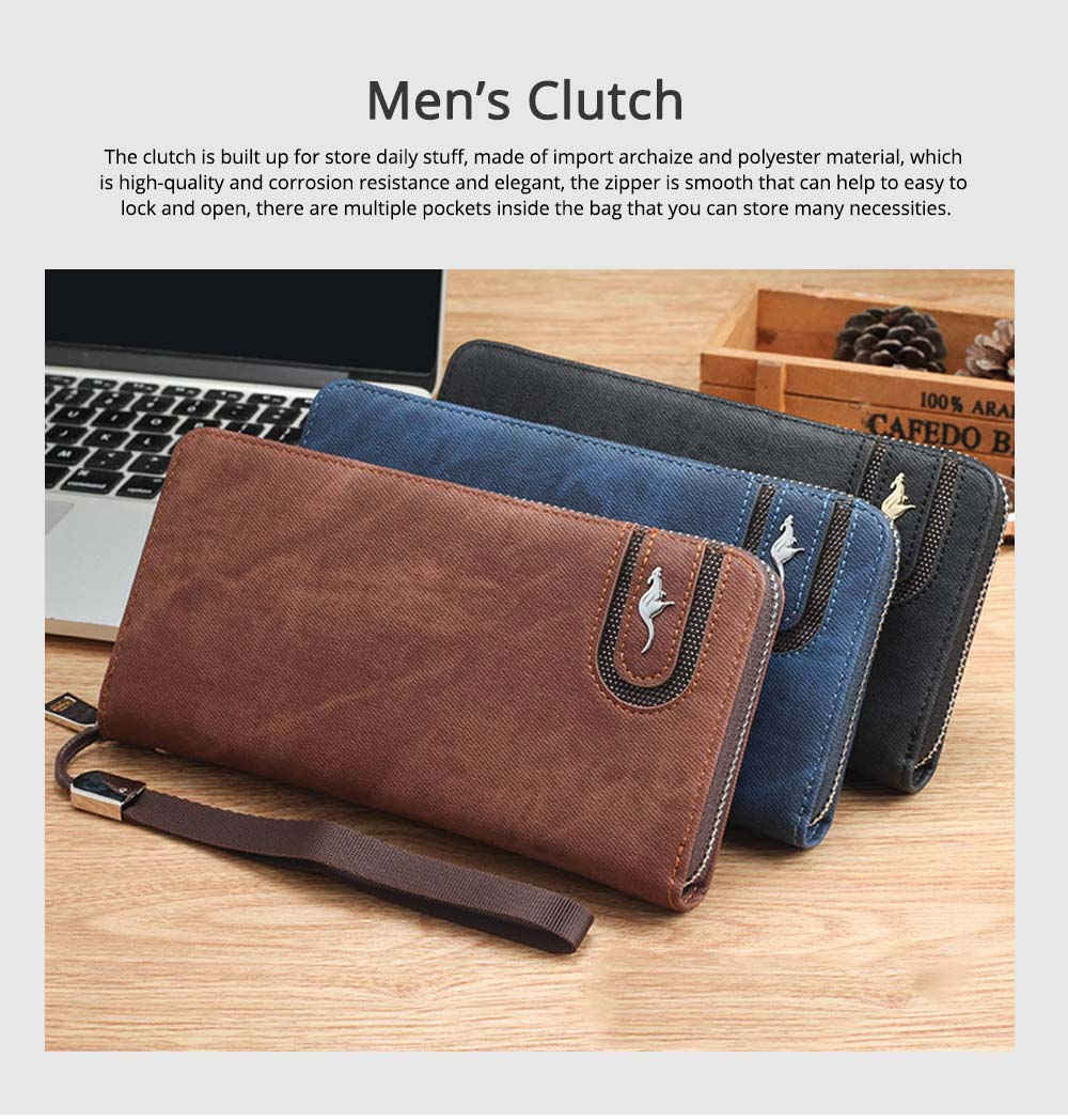 Men's Clutch with Kangaroo Pattern for Men Women Multiple Pockets Notecase Practical Wallet 0
