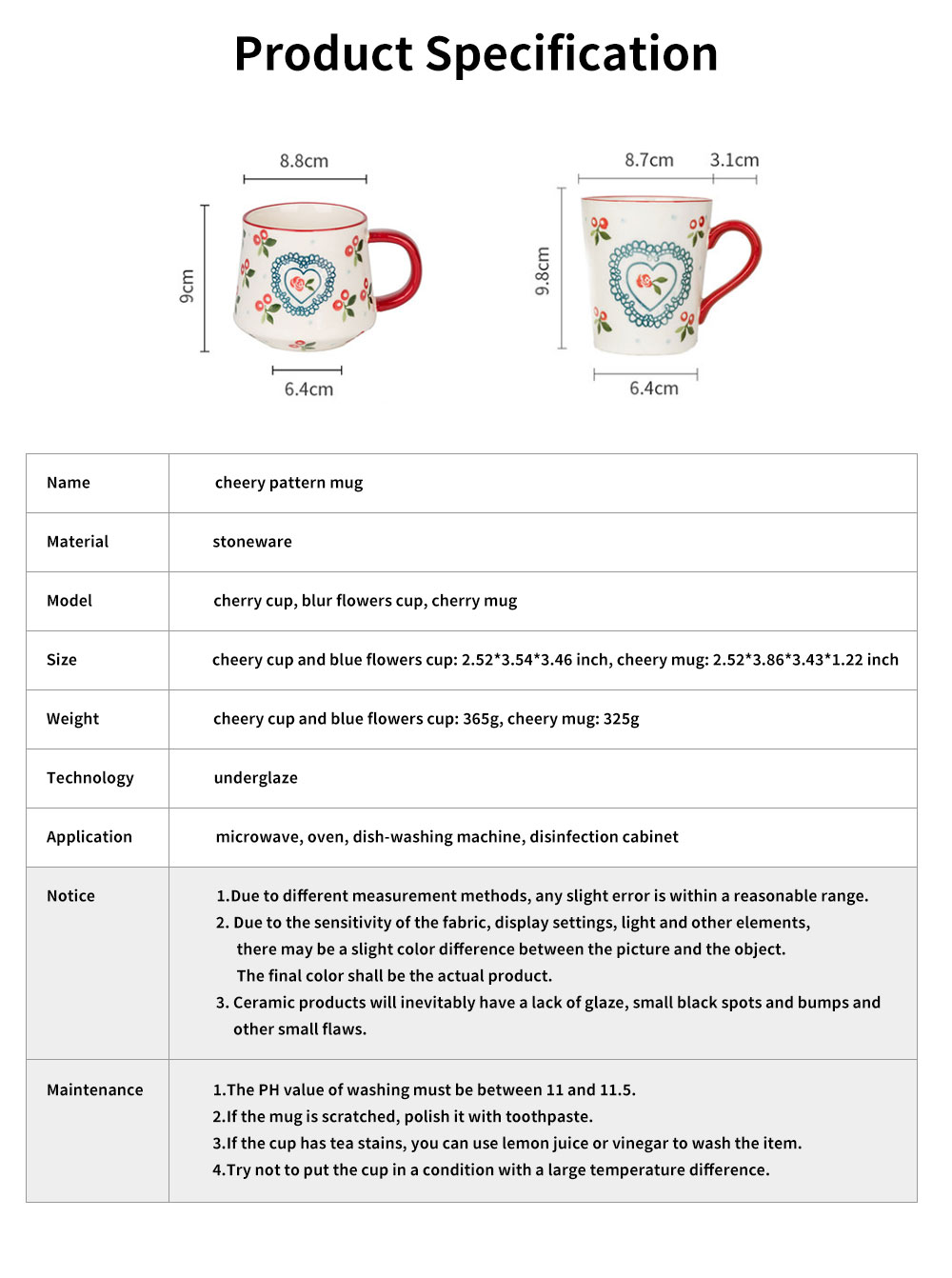 Cute Delicate Elegant Ceramics Mug with Cherry Pattern, Large Capacity Underglaze Household Water Cup 6