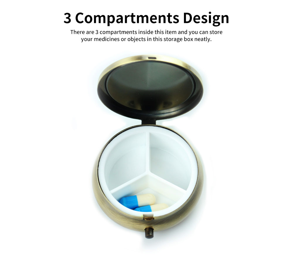 Creative Fancy Mini Portable Brassiness Alloy Pill Case, Elegant  Decorative Earrings Jewelry Storage Box with 3 Compartments 5
