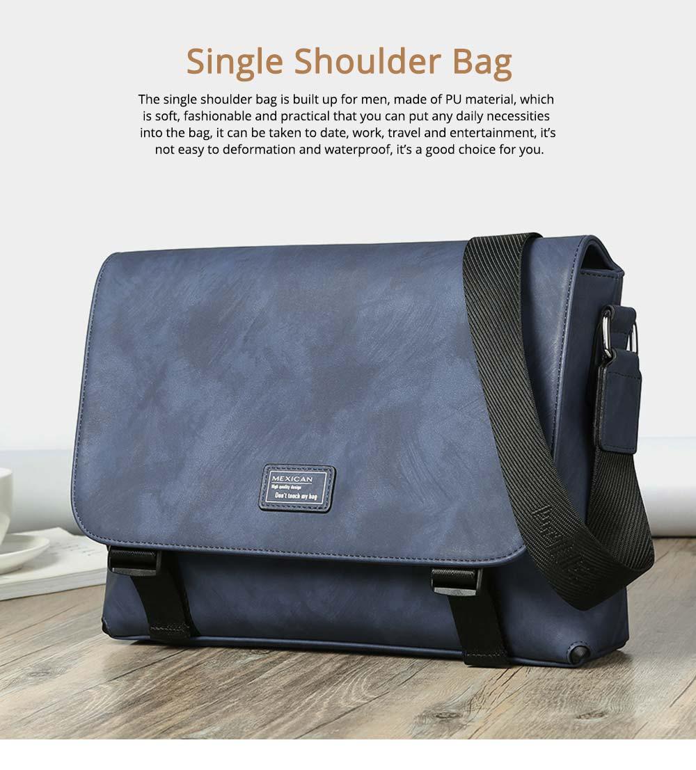 Single Shoulder Bag PU Material Bag for Men Large Capacity Bag Waterproof Pack 0
